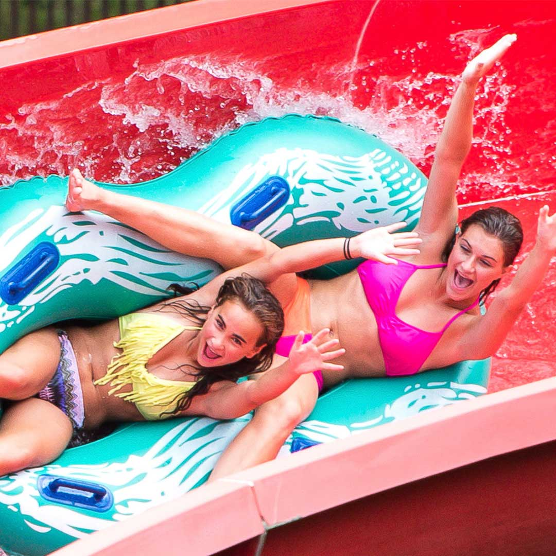 teen Girls in a double raft