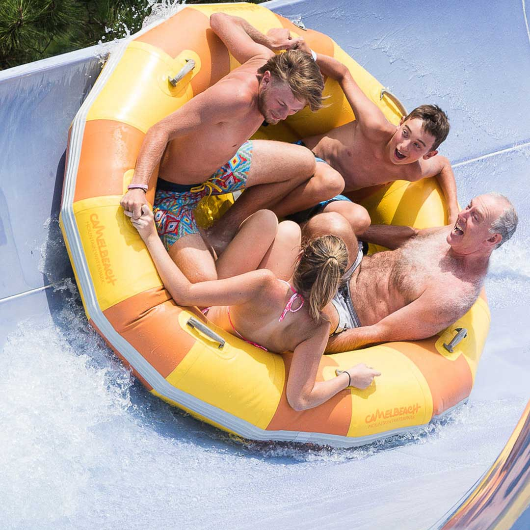 Family yellow raft waterslide